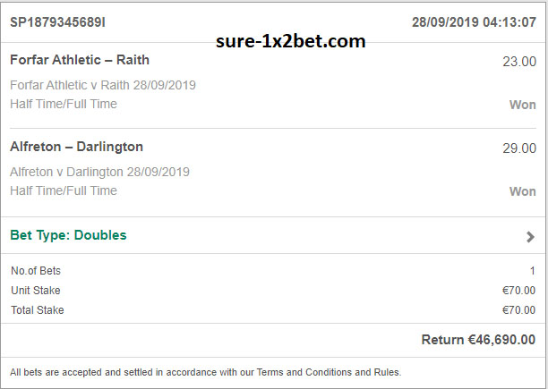 double ht-ft fixed matches saturday