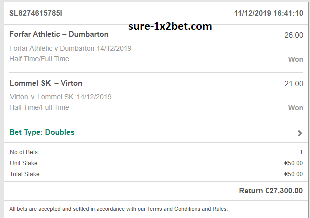 sure football bets 1x2 today