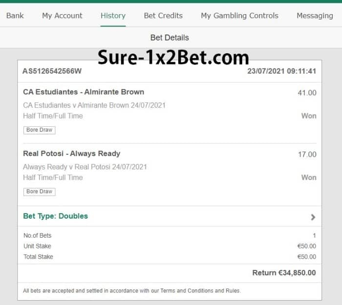 double ht ft fixed bets