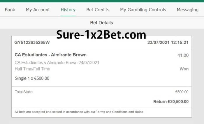 single ht ft fixed match 30 odds