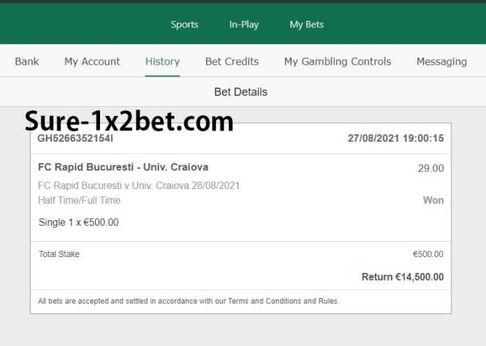 Single ht ft Fixed Bet 30 odds